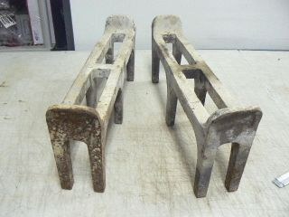 Antique Cast Iron Fireplace Wood Log Holder Grate Inserts,  Fire Dogs photo