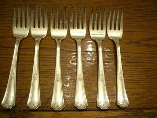 6 National Silver Co 9 Pattern Salad Or Dessert Forks C.  1920 - 30 ' S photo