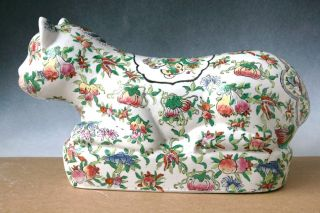 Large 19th C.  Chinese Porcelain Famille Rose Pillow Cat Figure Marked ' Guanxu ' photo