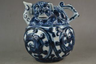 Collectables Old Handwork Porcelain Carving Lifelike Dragon Usable Back In Pot photo