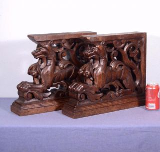 French Antique Wood Statues Posts Feet W/griffins Or Lions Architectural Carved photo