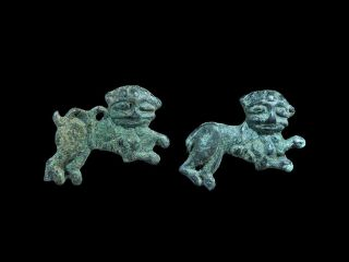 Rare Medieval Bronze Knights Templar Lion Applique Pair 12th - 14th Century A.  D. photo
