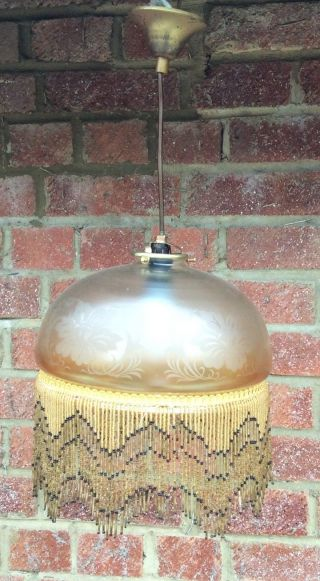 A Vintage French Beaded Gold Glass Central Lights photo