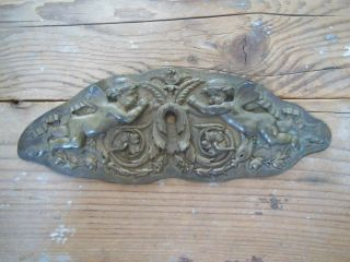 Antique French Bronze Pediment For Furniture Mirror Customisation Cute Angels photo