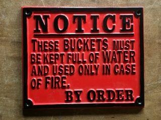 Vintage Fire Bucket Railway Gwr Cast Sign Plaque Train Old Antique Red Style photo