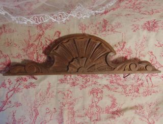 Antique French Wood Cornice Pediment Mount For Mirror Door Wall Furniture photo