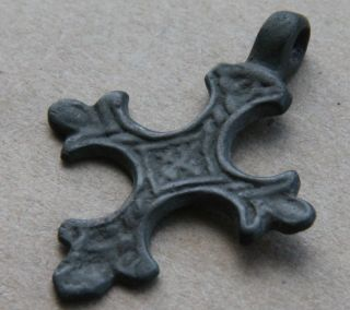 European Medieval Crusader Period Bronze Cross Pendant 1200 Ad Vf, photo