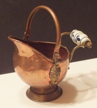Small Antique Vintage Brass Copper Fireplace Scuttle Coal Ash Bucket Lions Head photo