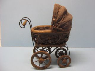 Vintage Doll Carriage Antique Doll Stroller Miniature Old Wood Construction photo