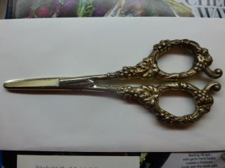 Wilco & Wagoner Co.  Germany Sterling Silver Grape Pattern Scissors Ornate photo