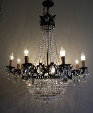 Extra Large Antique French Basket Style Brass & Crystals Chandelier Vintage photo