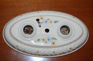 Old Antique Porcelain Double Light Fixture Sconce,  Flush Mount Wall/ceiling photo