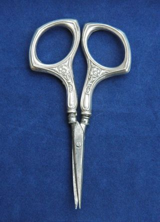 Antique Sterling Silver Chatelaine Embroidery Scissors By Webster Circa 1890s photo