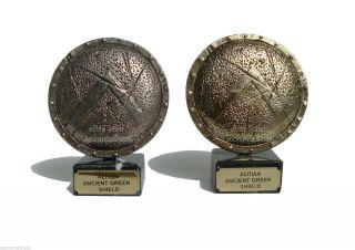 Ancient Greek Shield - Spartan - 10cm (silver) photo