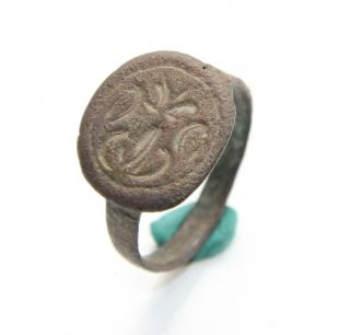 Antique Old Finger Ring Pseudo - Heraldry Sealing Wax Seal (spt45) photo