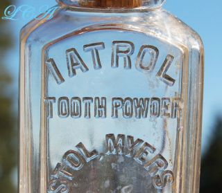 Antique Iatrol Tooth Powder Embossed 1800 ' S Dental Bottle Bristol Myers photo