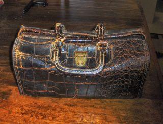 Antique Brown Alligator Doctor Bag photo