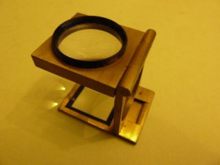 Vintage Pocket Folding Brass & Japanned Magnifying Glass Loupe photo