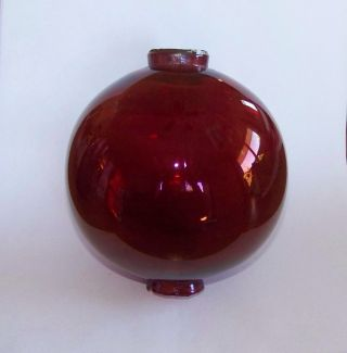 Antique 4 1/2 Inch Ruby Red Glass Lightning Rod Ball photo