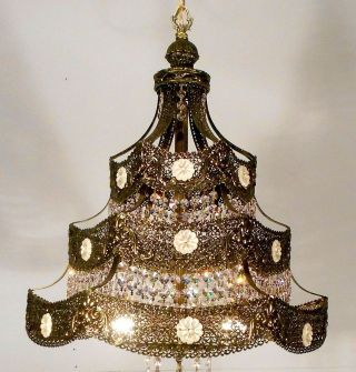 Vintage Antique Filigree Chandelier Crystals Is For One.  Two Available photo