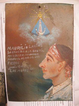 1943 Exvoto/retablo Man Thanking Our Lady Del Platanar For Miracle photo