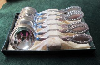 Antique 6 Bouillon Spoons Diana 1910 Laurel Wreath Silverplate photo