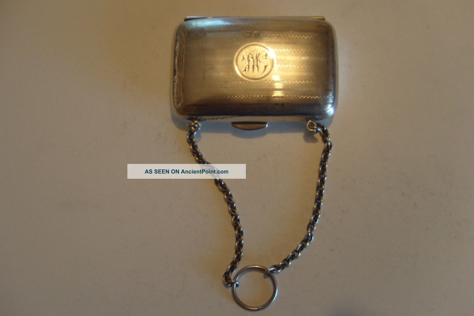 Sterling Silver Lady Purse Coin Holder,  Chain Card Case,  67 Grams,  Post 1940 Card Cases photo