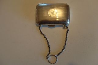 Sterling Silver Lady Purse Coin Holder,  Chain Card Case,  67 Grams,  Post 1940 photo
