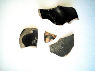 Ancient Greek Pottery 4 Old Fragments Of Dishes Painting 3 - 5th Century Bc photo