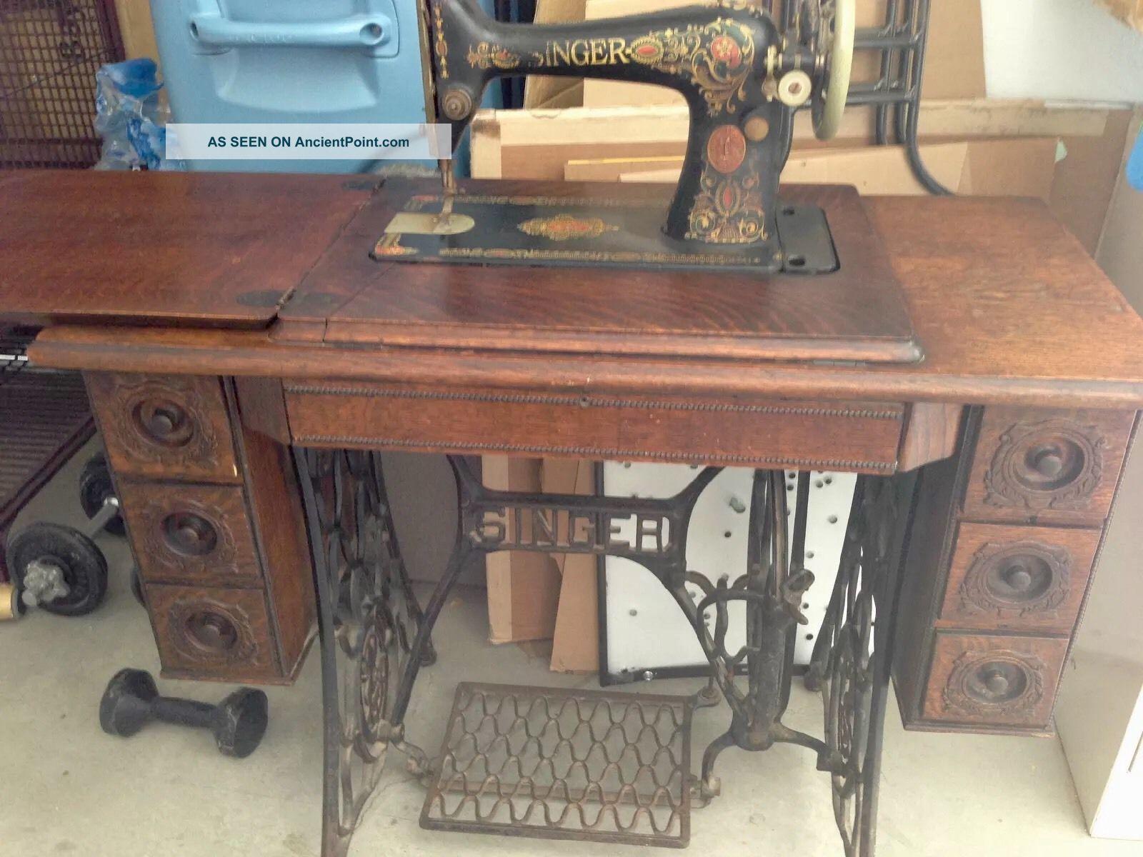 Singer Treadle Sew Machine Cabinet Table Antique Tiger Oak Sewing Machines photo
