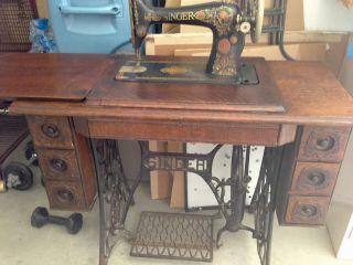 Singer Treadle Sew Machine Cabinet Table Antique Tiger Oak photo