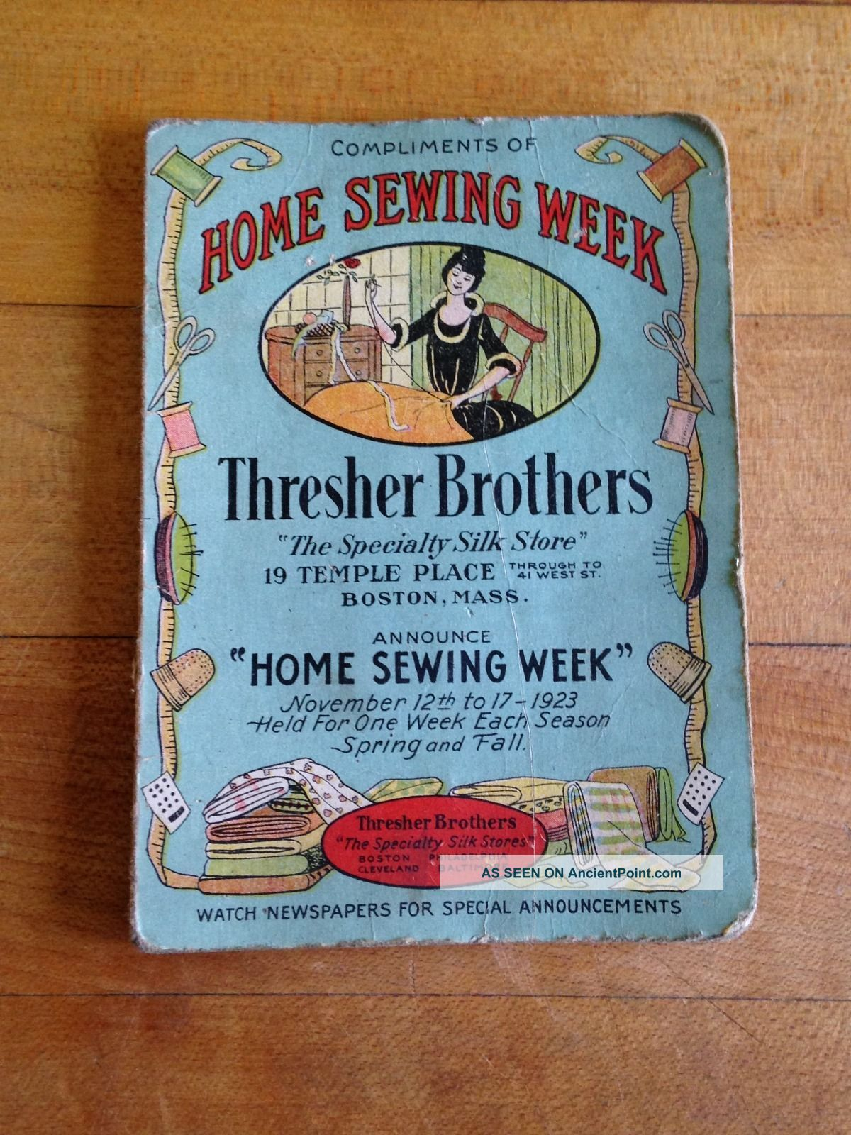 Antique Advertising Sewing Needle Case Thresher Brothers C1923 Needles & Cases photo