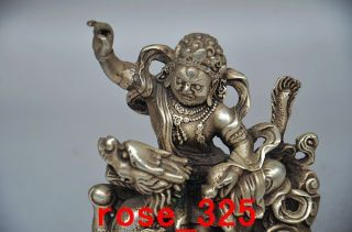 Collectible Decorated Old Handwork Tibet Silver Carved Kassapa Thera Statue photo