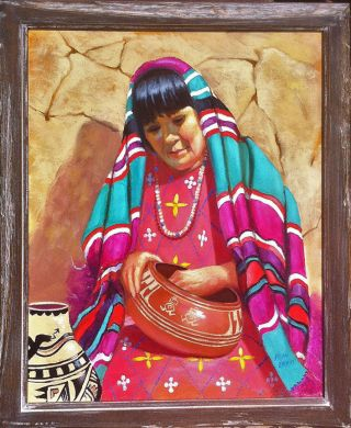Fran Erwin Painting Portrait Of Maria Martinez Potter Of San Ildefonso photo