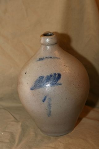 Antique Salt Glazed Stoneware Ovoid Jug H&g Nash Utica Ny Cobalt Decorated Rare photo
