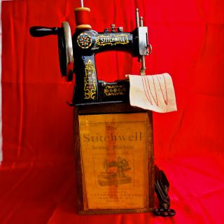 Antique Toy Sewing Machine Stitchwell It Sews Flawless, photo