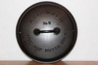Griswold No 9 Tite Top Dutch Oven Cover Lid 2552 Pat Feb 1920 Cast Iron Cookware photo