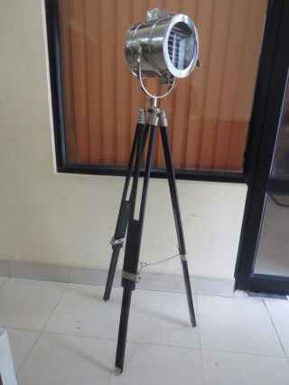 British Royal Master Stainless Steel With Wooden Tripod Floor Lamp Search Light photo