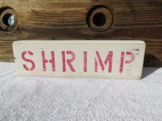 12 Inch Wood Hand Painted Shrimp Sign Nautical Maritime Seafood (s350) photo
