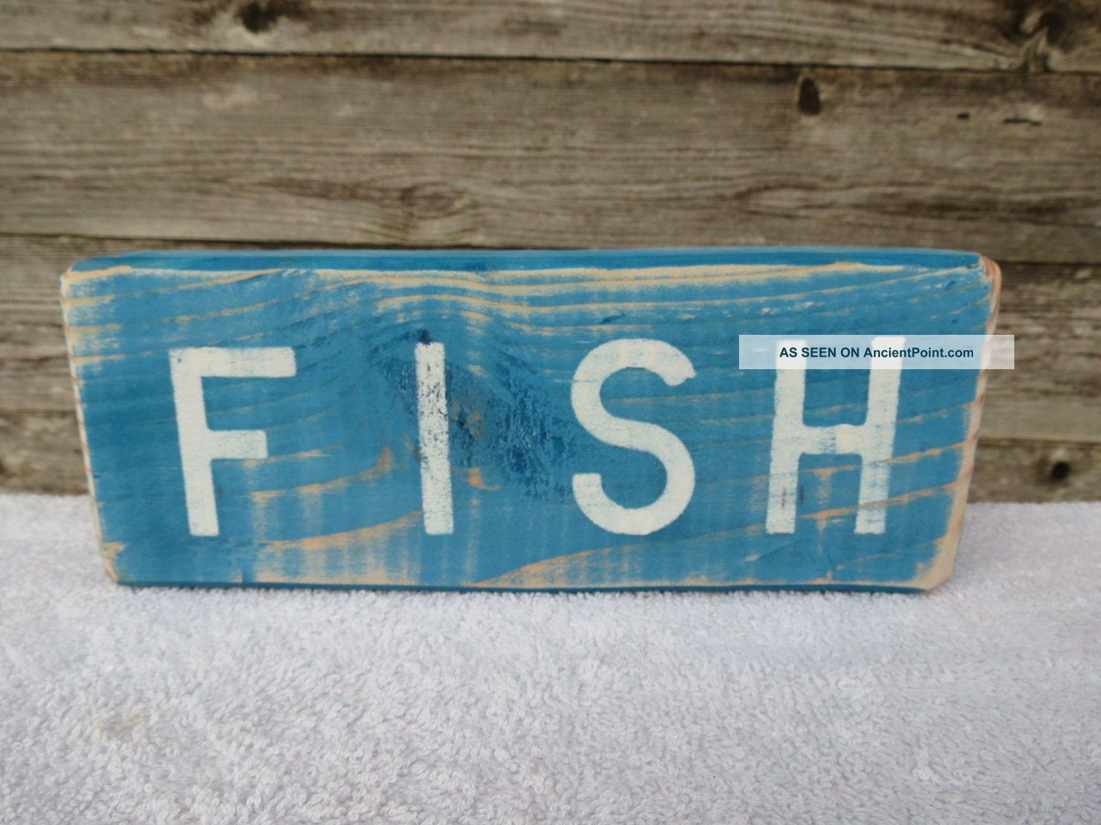9 Inch Wood Hand Painted Fish Sign Nautical Seafood (s539) Plaques & Signs photo
