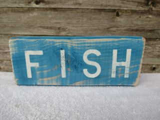 9 Inch Wood Hand Painted Fish Sign Nautical Seafood (s539) photo