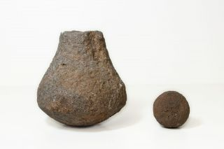 Ancient Hawaii Pre - Contact Artifacts - Sling Stone & Pounder photo