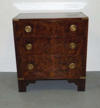Vtg Mid Century Modern Campaign Style Burl Wood Nightstand Side End Table photo