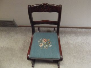 Vintage Rose Carved And Needlepoint Childs Rocking Chair By Lexington Chair Co. photo