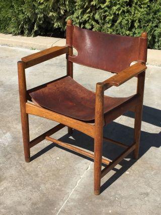 Rare Borge Morgensen Oak & Leather Arm Chair Mid Century Modern photo