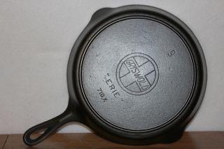 Antique Slant Erie Griswold 710 X Size No.  9 Cast Iron Skillet W/ Heat Ring photo