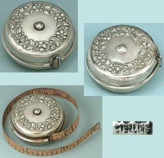 Antique Sterling Silver Floral Retracting Tape Measure American Circa 1900s photo