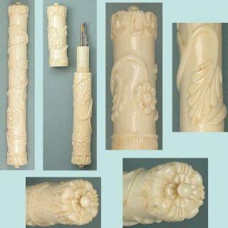 Exceptional Antique Carved Dieppe Bone Needle Case French Circa 1840 photo
