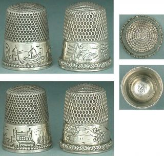 2 Antique Sterling Silver Scenic Band Thimbles American Circa 1880 - 90s photo