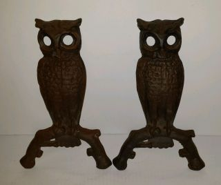 Vintage Fireplace Owl Andiron Fronts photo